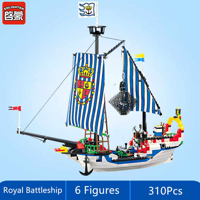 Illumina Pirate Ship Royal Navi Da Guerra Barca Bricks Città FAI DA TE Building Blocks Imposta LegoINGs Brinquedos Juguetes Giocattoli per I Bambini