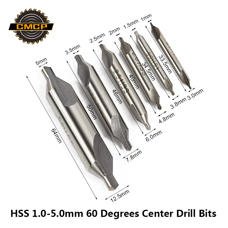 HSS Center Drills Bits 60 Degree Countersink Drill 1mm 1.5mm 2mm 2.5mm 3mm 3.5mm 4mm 5mm Power Tools Metal Drill Bit