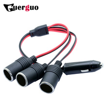 10PCS Universal 3 Ways Triple Car Charger Cigarette Lighter Splitter Female Socket Plug Power Adapter Auto Cable Input 12/24V