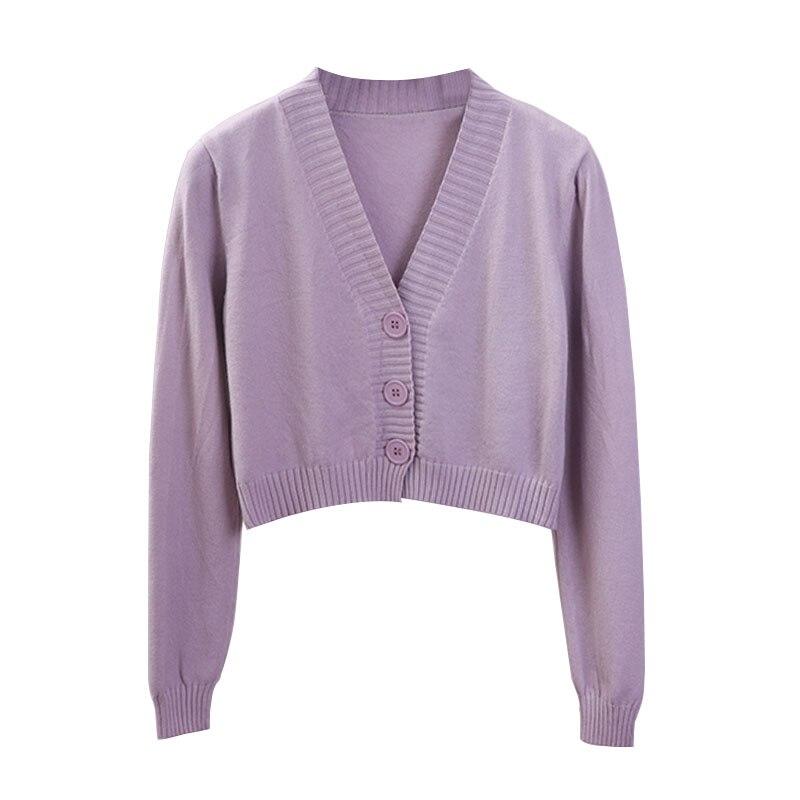 US $4.87 9% OFF|Women's Cropped Cardigan Sweaters Female Black White Short Sweater V Neck Single Breasted Sweater Woman Knitted Cardigan|Cardigans|