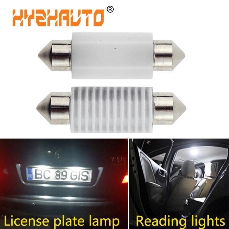 Hyzhato керамические гирлянды 3030 светодиодный светильник C5w C10w 31 мм 36 мм 39 мм 42 мм для салона автомобиля чистый белый 6000K 12-24 В 2 шт.