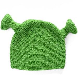 Унисекс Балаклава Монстр шрек шляпа шерсть Зимние трикотажные шапки Зеленый Вечерние забавная Шапочка Лыжная шапочка для женщин мужчин чистая ручная работа
