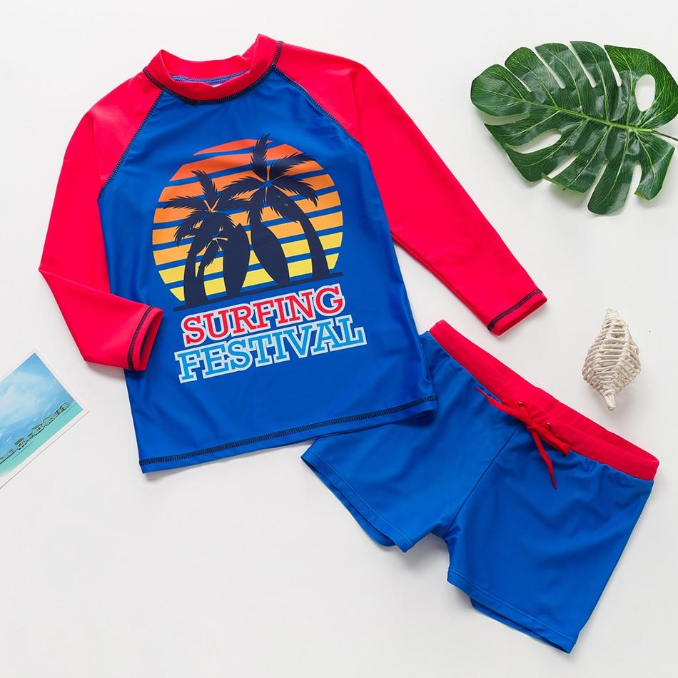 Boys Bathing Suits 2019 Fashion Two-Pieces Beach Sports Surf Swimsuit Big Boys Long Sleeve Rash Guard Bathing Suits 9035