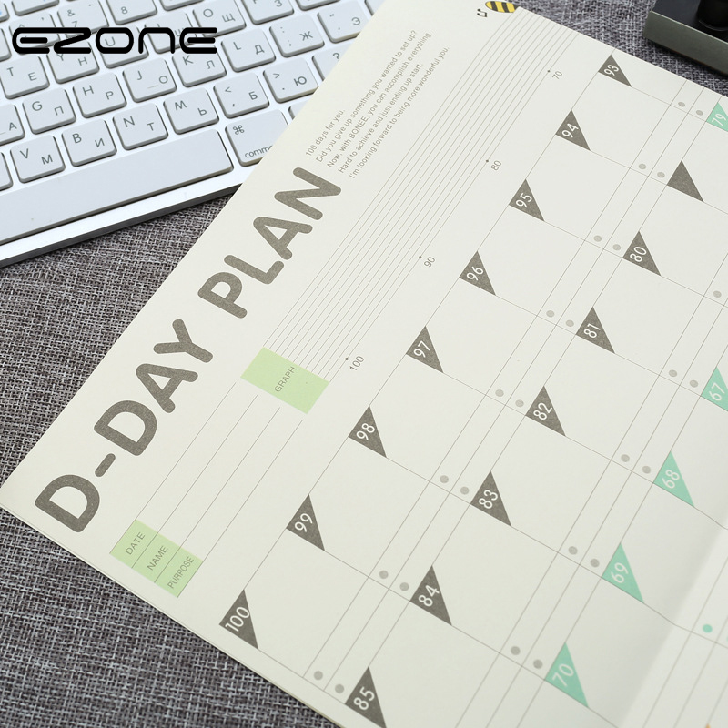 EZONE 100 Days Diary Plan Schedule 100 Days Countdown Office School  Calendar D-Day Plan Printing Calendar School Office Supply