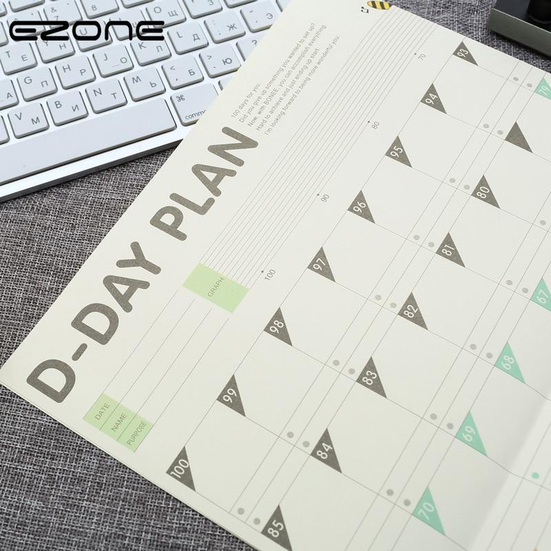 EZONE 100 Days Diary Plan Schedule 100 Days Countdown Office School  Calendar D-Day Plan Printing Calendar School Office Supply