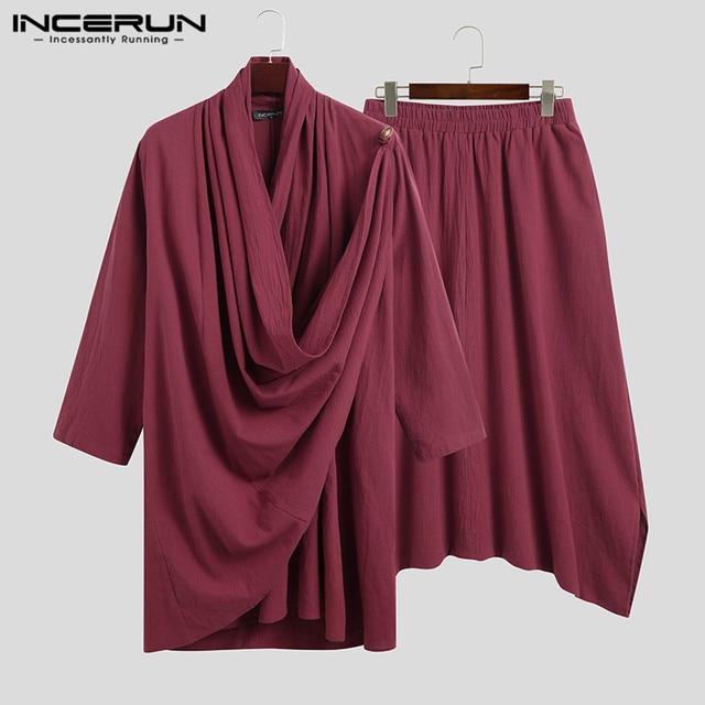 INCERUN Solid Color Men Sets Cotton Streetwear Turtleneck Long Sleeve Irregular Cloak Coats Drop Crotch Pants Vintage Mens Suits 5