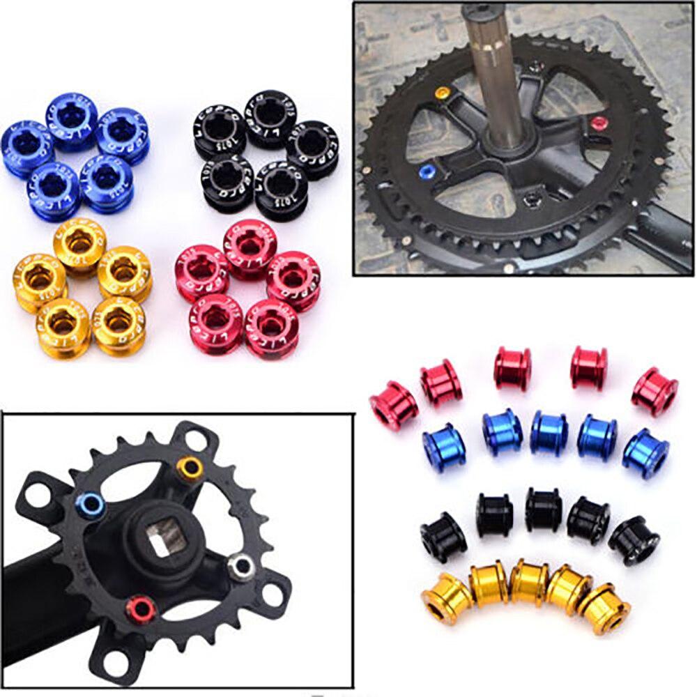 5 pcs Single Chainring Bolts Crankset Nuts MTB Road Bike Chainset Crank Screws