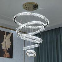 Lámpara LED de cristal para decoración del hogar, candelabro moderno de lujo, iluminación de escalera grande, accesorios de iluminación, 2021