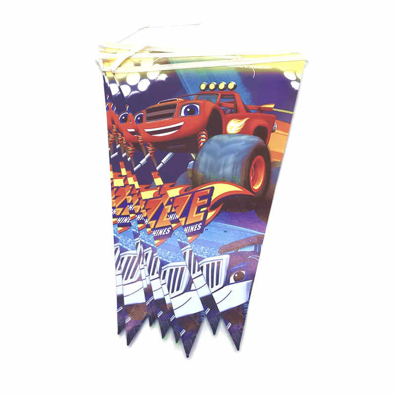 Feestartikelen 61/31Pcs Blaze En De Monster Machines Kids Servies Jongens Verjaardag Plaat Cup Vlag Tafelkleed Decoraties supply