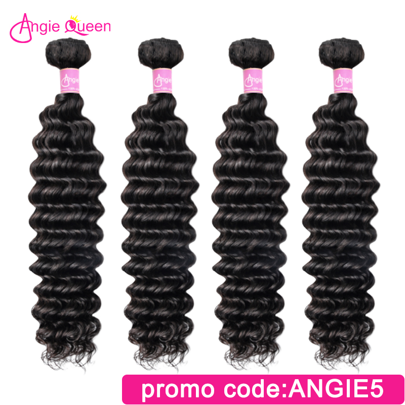 Angie Queen Deep Wave Indian Hair Remy Hair Weaves 100% Human Hair Bundles Natural Color Remy Hair Bundles 8'-26' L