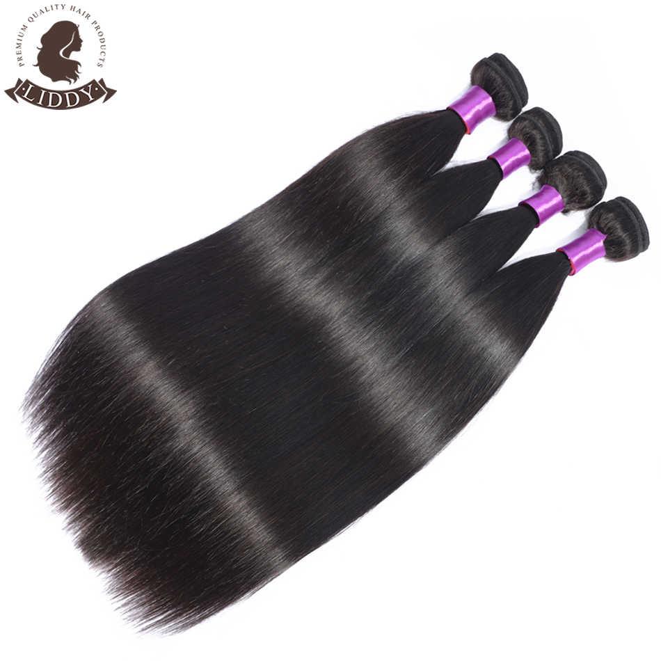 Mechones de pelo liso Liddy extensiones de pelo ondulado malasio extensiones de cabello humano 100% Color Natural cabello no remy tejido 1/3/4 piezas
