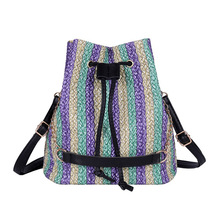 Weaving Shoulder Top-handle Bags Women Handbag Drawstring Bucket