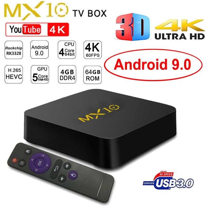 Android 9 0 MX10 Smart TV BOX DDR4 4GB Ram 64GB Rom Rockchip RK3328 Quad Core