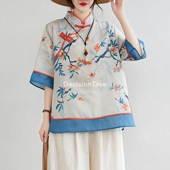 2021 kobiet hanfu bluzka drukowanie tradycyjne kobiety chińska stylowa koszula kostium hanfu odzież lniana tradycyjna starożytna bluzka tanie i dobre opinie DecisionTree COTTON Linen CN (pochodzenie) Topy WOMEN Suknem