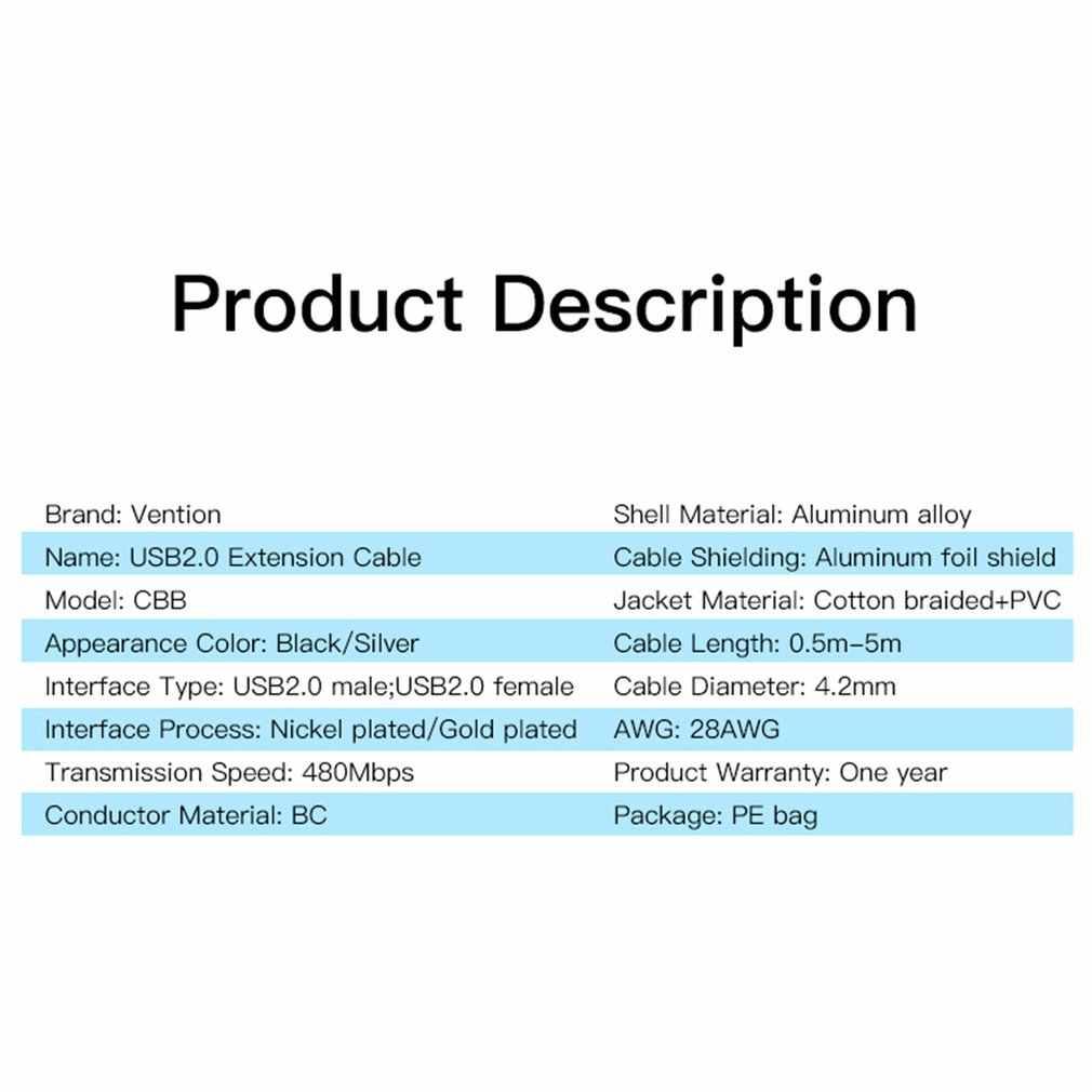 USB 2.0 mâle à femelle USB câble 1.5m 3m 5m Extender cordon fil Super vitesse données synchronisation câble d'extension pour PC portable clavier
