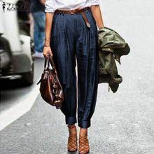 Lantern Pants Elegant Work-Trousers Office Loose Zanzea Women High-Waist Solid Casual