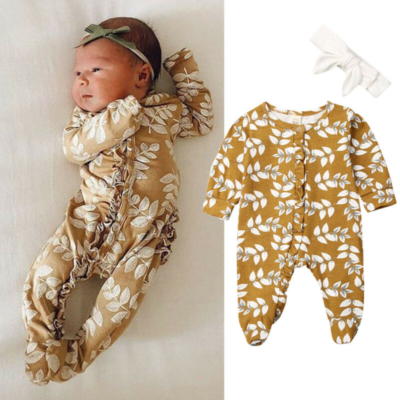 0-6M Newborn Infant Baby Footies Jumpsuit Cute Floral Ruffled Cotton Comfort Playsuit Baby Clothes