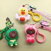 2019 New Cartoon Brown Bear Key chain Cute Dinosaur Frog Pig Doll Keyrings Kids Toy KeyChains for Women pendant