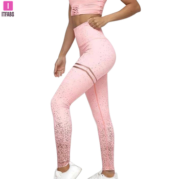 2019 Women Sequined High Waist Yoga Fitness Leggings Glitter Running Gym Stretchy Sport Pants Trousers image
