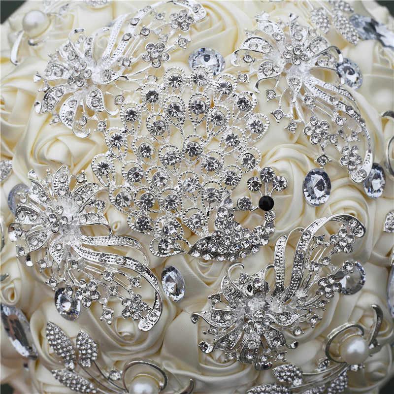 Wifelai-Pernikahan Bunga Gading Satin Rose Bridal Karangan Bunga Buatan Buket Bunga Pernikahan Bunga Buket Pengiring Pengantin dengan Crystal W258