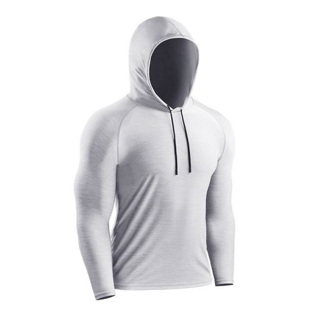 Men Casual Long Sleeve Quick-Dry Bottoming Hooded T-shirt Sport Breathable Tops