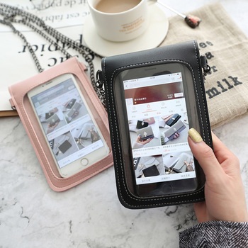 AOUK Touch Screen Leather Phone Bag Shoulder Chain Pouch Case For Xiaomi Redmi Note 7 6 K20 7 6A 6 Pro 5 Mi A3 9T 9 Lite Cover