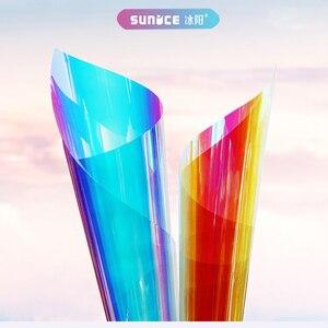 Image 4 - SUNICE 百貨店ホーム Fesitval DIY レインボー効果窓フィルム玉虫色装飾ガラス粘着 68 センチメートル × 700 センチメートル