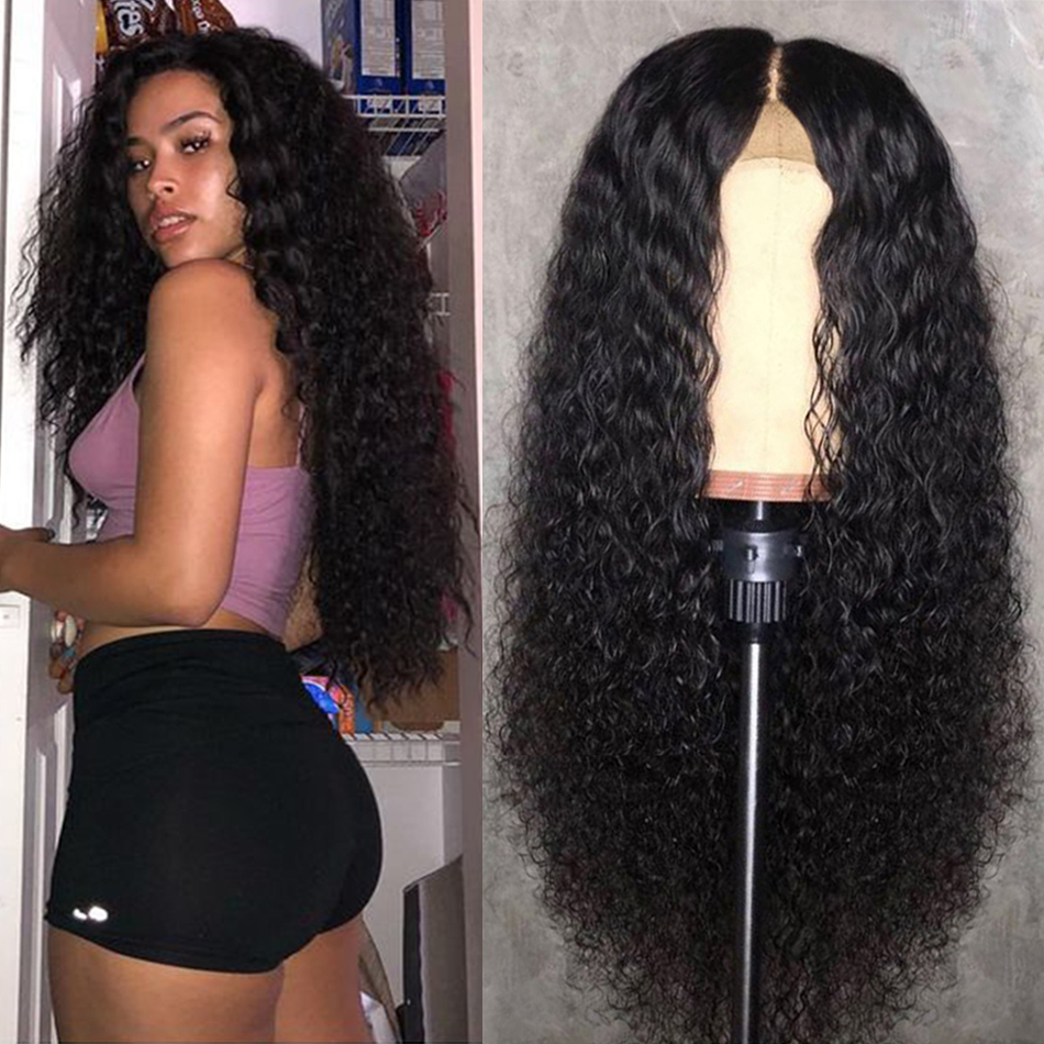 Brazilian 4x4 Lace Closure Wig Hair Human Curly Wig  Deep Wave Human Hair Wigs For Women Pre Plucked Hairline With Baby Hair