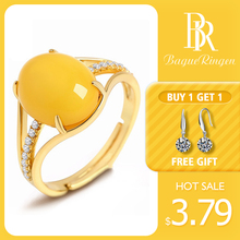 Bague Ringen  925 Silver Rings for Women Fine Jewelry Natural Yellow Amber Ring Adjustable Size Wedding Engagement Gift