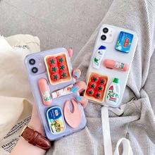 3D Cute Clear Supermarket Tomato Ham Supplies Phone Case For iPhone 11Pro Case XR XS MAX 7 8 Plus Transparent Soft Glitter Cover недорого