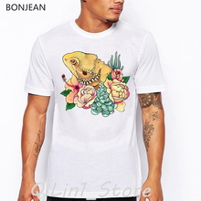 Snake in the flowers print t-shirt men clothes 2019 funny t shirts camisetas hombre harajuku shirt tumblr tops tee homme