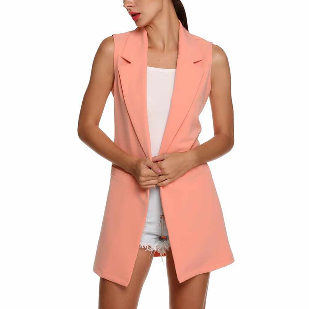 여성 패션 우아한 사무실 레이디 포켓 코트 민소매 조끼 자켓 아웃웨어 캐주얼 브랜드 양복 조끼 콜레 feminino
