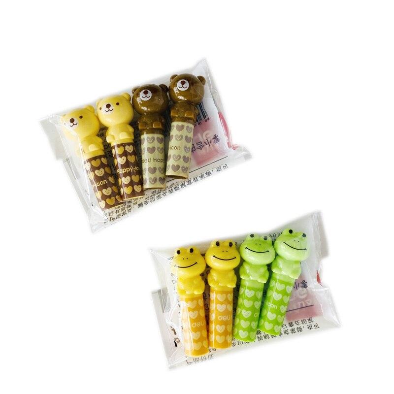 4 Pcs/pack Kawaii Plastic Bear Frog Pen Pencil Cap Stationery Plastic Pencil Grip For Kids Child Pencil Topper