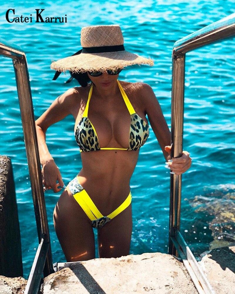 Catei Karrui 2020 New Sexy Bikini Leopard Print Swimwear Women's Swimwear Split Swimwear Summer Pool Party Sexy Swimwear Women