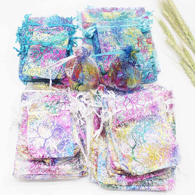 50pcs Colorful Organza Bag Iron Heart Rose Special Design Pounch Package Wedding Promotion Gifts Bag Candy Jewelry Package
