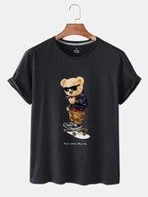 Verão personalidade moda roupas femininas anti-rugas skate urso padrão impressão diário manga curta em torno do pescoço camiseta