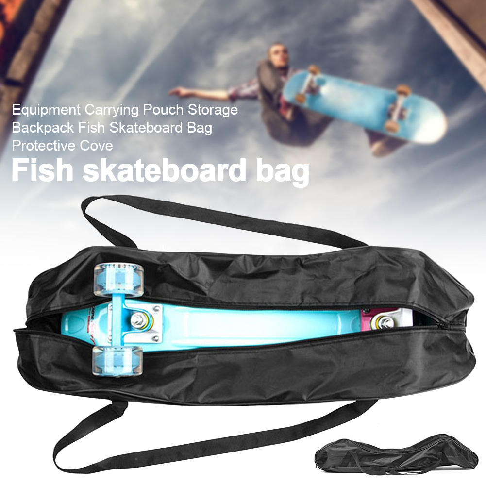 Zippered Hanging Fish Skateboard Bag Equipment Dustproof Outdoor Sports Storage Backpack Travel Protective Cover Carrying Pouch