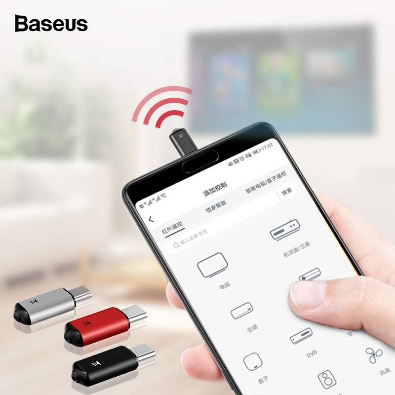 Baseus Mini Universal Remote Control For Samsung LG Air Mouse USB Type C Smart IR Controller Adapter For Android TV Aircondition