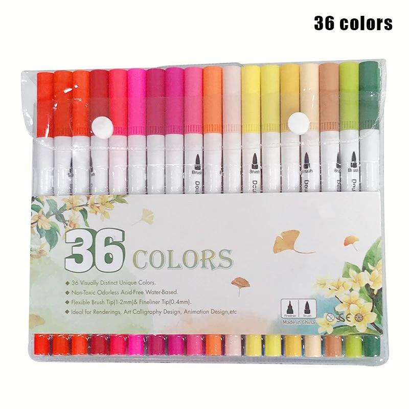 60 Colors Dual Tips Watercolor Drawing Pens Fine Tip Brush Paint Art Markers Set