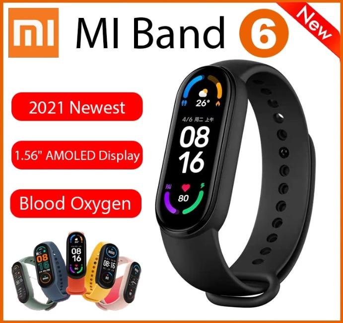 "Original Xiaomi Mi Band 6 Sport Wristband Heart Rate Fitness Tracker 1.56 "" AMOLED Screen Smart Xiaomi Band 6 multi language Smart Wristbands  - AliExpress"