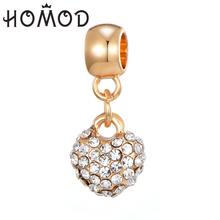 HOMOD Gold Alloy Full Crystal Round Charms Fits Brand Bracelet DIY Necklace Accessories