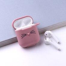1pc מקרה חמוד יפה חתול Cartoon מגן כיסוי Bluetooth אלחוטי אוזניות סיליקון כיסוי עבור אוויר תרמילי אלחוטי אוזניות מקרה
