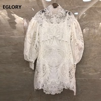 Newest Fashion Dresses 2020 Spring Summer Party Sexy Women Hollow Out Embroidery White Rose Red Black Mini Dress Ladies Clubwear