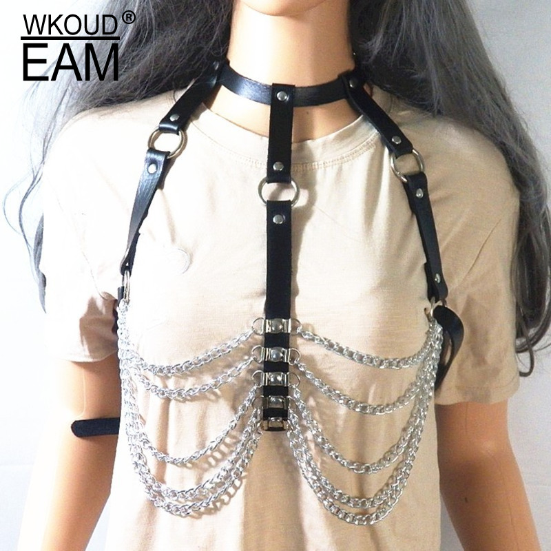 WKOUD EAM 2020 New Metal Chain PU Leather Corset Belt For Women Punk Causal Bondage Chest Belly Chain Female Tide PF495