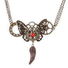 Butterfly necklace  / personality necklace  vintage necklace gear pendant steampunk jewelry retro exaggerated  pendant necklace power game necklace ice and fire song necklace personality vintage tangle august dragon pendant
