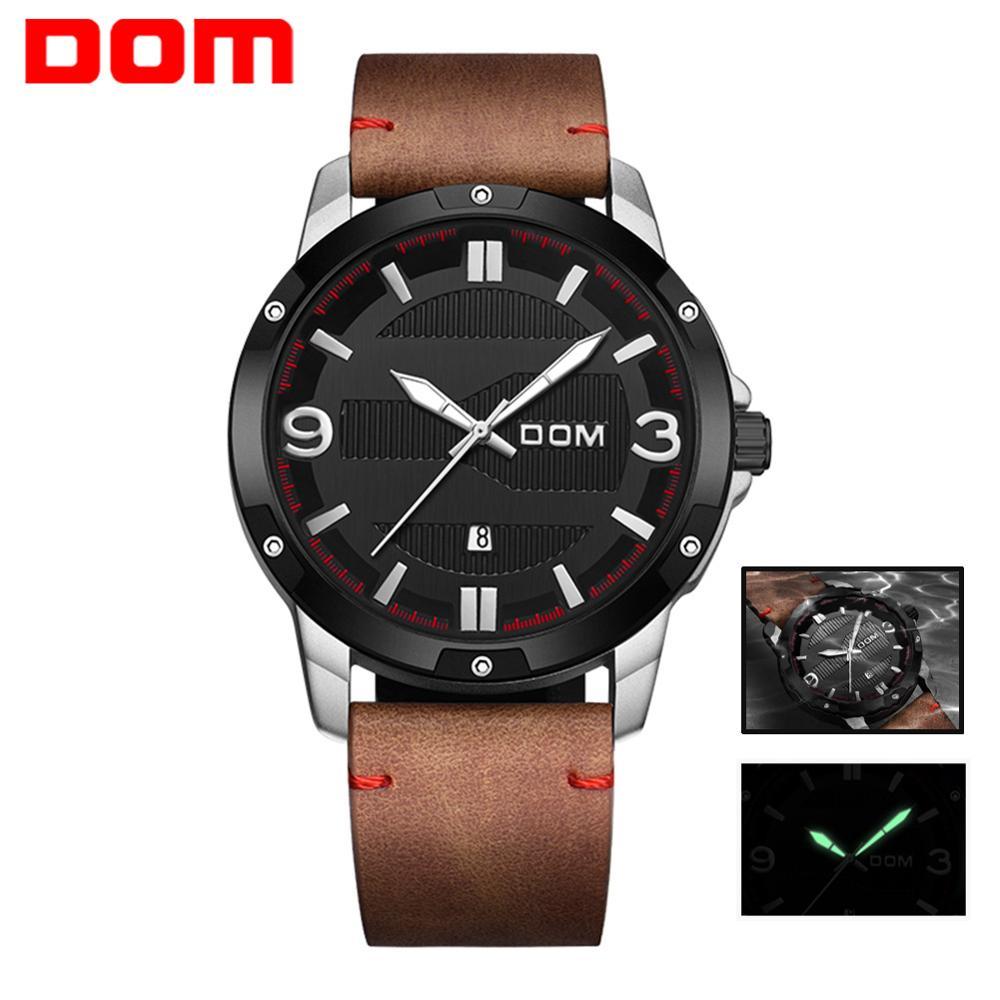 DOM Watch Men Fashion Sport Quartz Clock Mens Watches Brand Luxury Leather Business Waterproof Watch Relogio Masculino M-1219