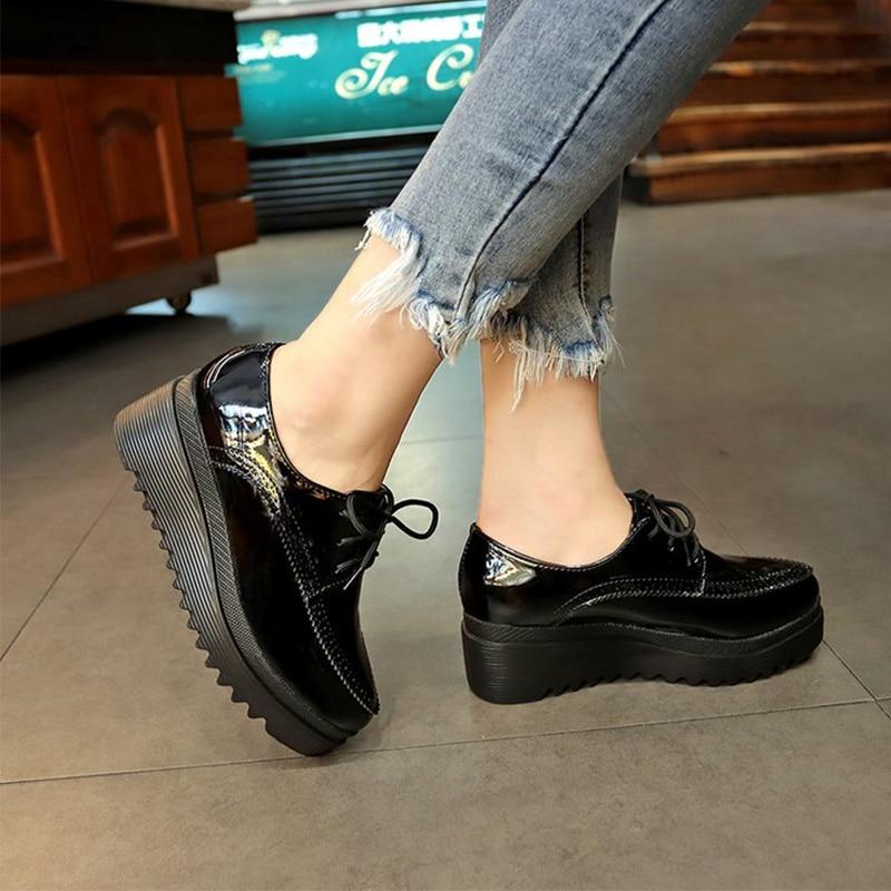 Nova mulher sapatos de couro patente bombas cunhas rendas até senhoras costura clássico dedo do pé redondo moda outono feminino calçados casuais Sapatos femininos    - AliExpress