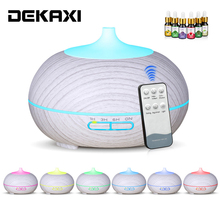 DEKAXI 300ml Aroma Diffuser Aromatherapy Wood Grain Essential Oil Diffuser Ultrasonic Cool Mist Humidifier for Office Home home use portable 300ml light wood grain ultrasonic humidification aroma essential oil diffuser chern aromatherapy humidifier