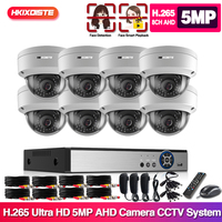 H.265+ 8ch AHD DVR System HD 5MP 1/3'' SONY IP66 Vandalproof In/outdoor Security Camera kit Video Surveillance Set 2T Xmeye APP
