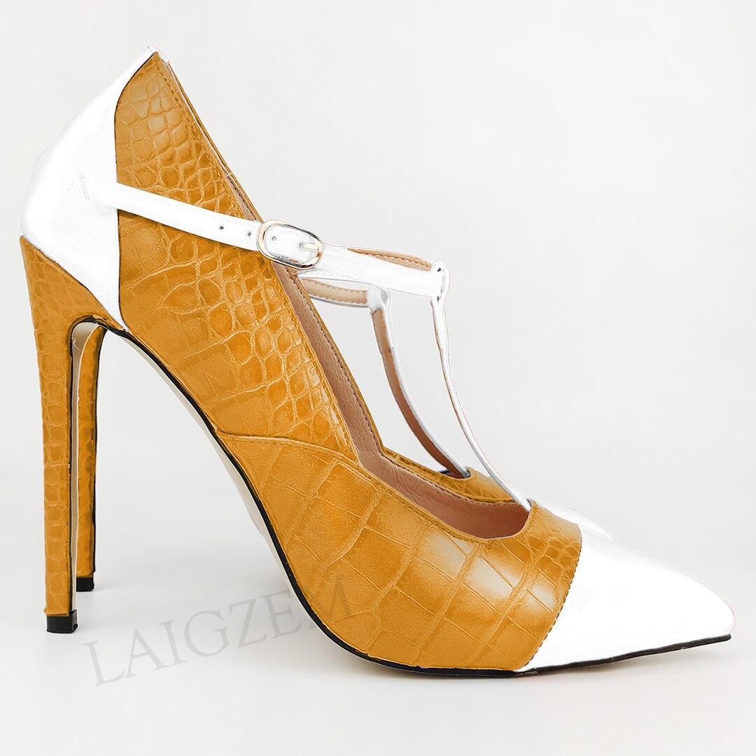 LAIGZEM, zapatos de tacón de aguja para mujer, zapatos con hebilla con tirantes en T, sandalias con punta en pico para fiesta, sandalias para mujer con fecha, talla grande 43 45 47 ZUECO ARMONIAS TACÓN TRACK